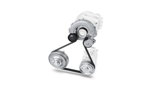 Accessory drive system for P0-hybrids with crankshaft decoupling and tensioning system